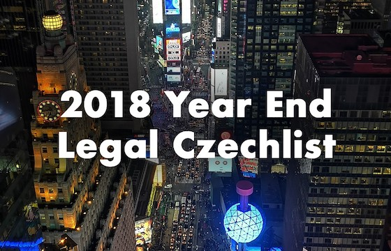 2018 Year-End Legal Checklist for Owners of Czech Companies
