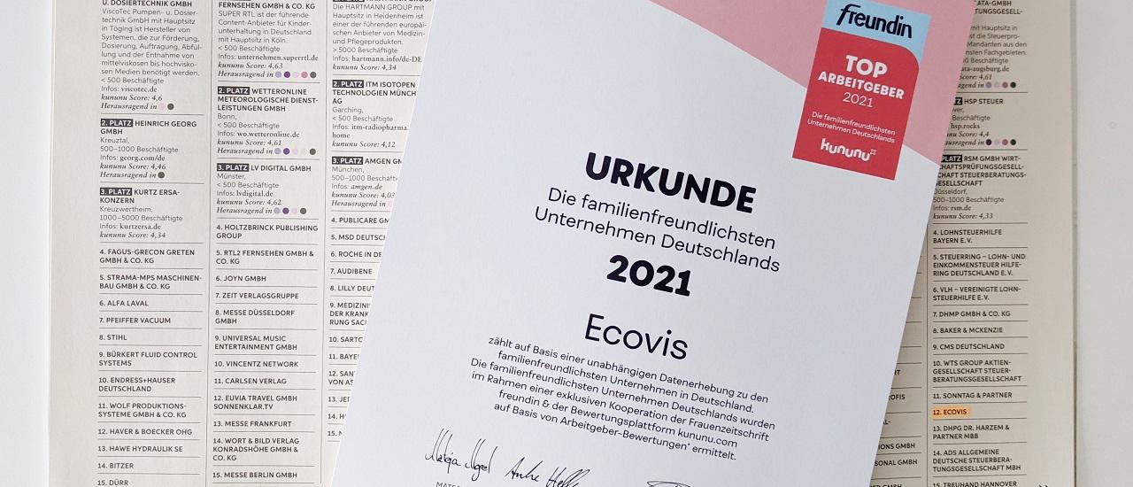 Freundin und kununu: Ecovis zählt zu Deutschlands familienfreundlichsten Arbeitgebern 2021