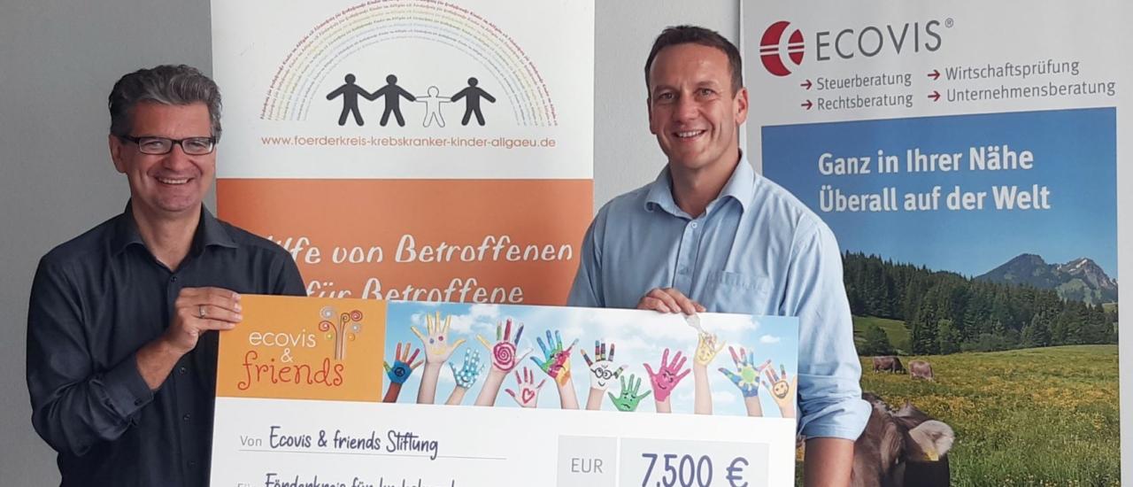 Ecovis & friends spendet 7.500 Euro für den Förderkreis für krebskranke Kinder im Allgäu e.V.